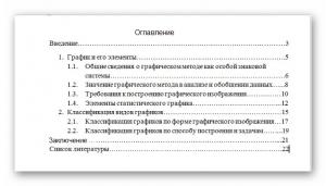 Пример заполнения раздела «Оглавление»